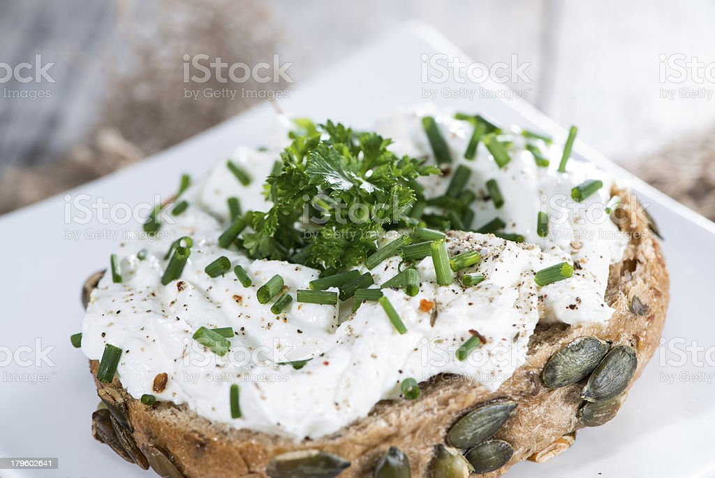 Roll with Curd and Herbs stock photo