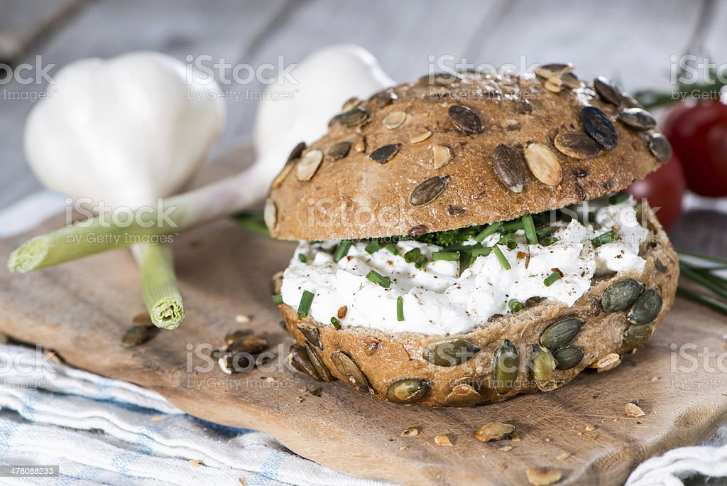 Roll with Curd and Herbs royalty-free stock photo