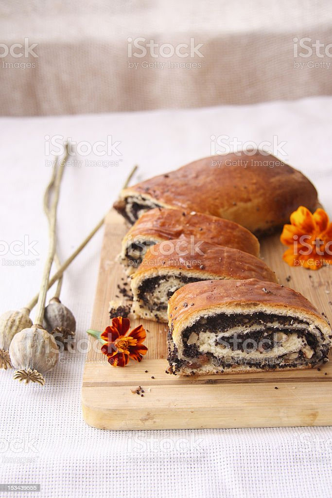 Roll with poppy seeds royalty-free stock photo