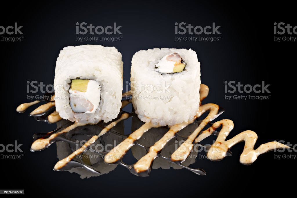Roll with shrimp, cream cheese sauce spicy stock photo