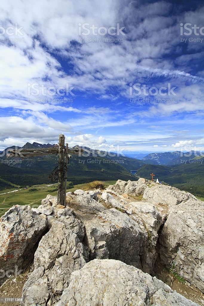 Rolle pass aerial view, Italy stock photo