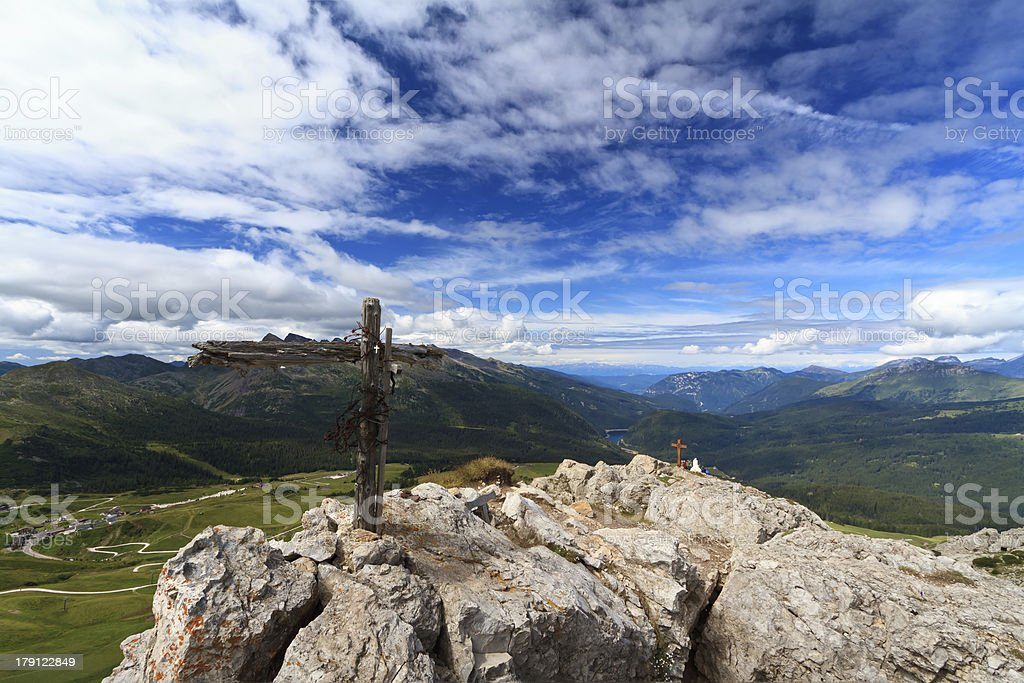 Rolle pass from Castellazzo mount stock photo