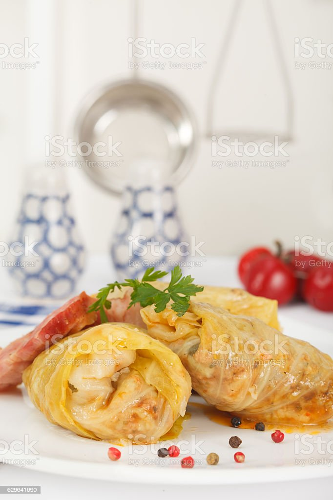 Rolled and stuffed cabbage with rice and minced meat stock photo