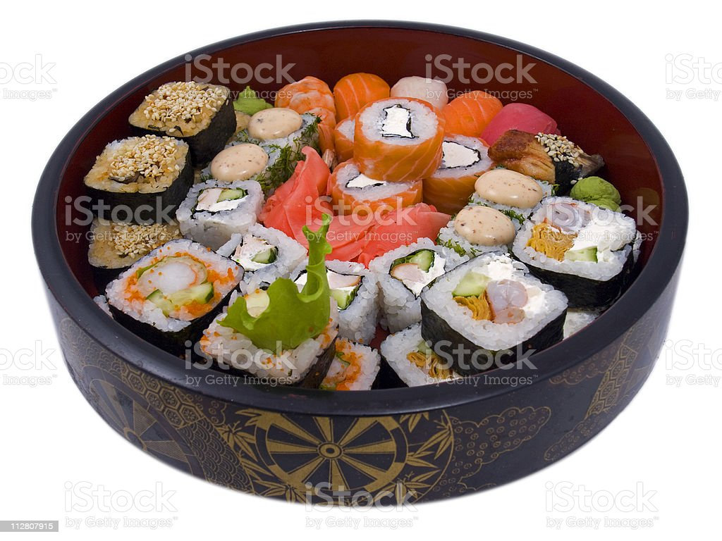 rolled and sushi royalty-free stock photo