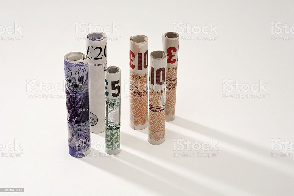 Rolled bank notes stock photo