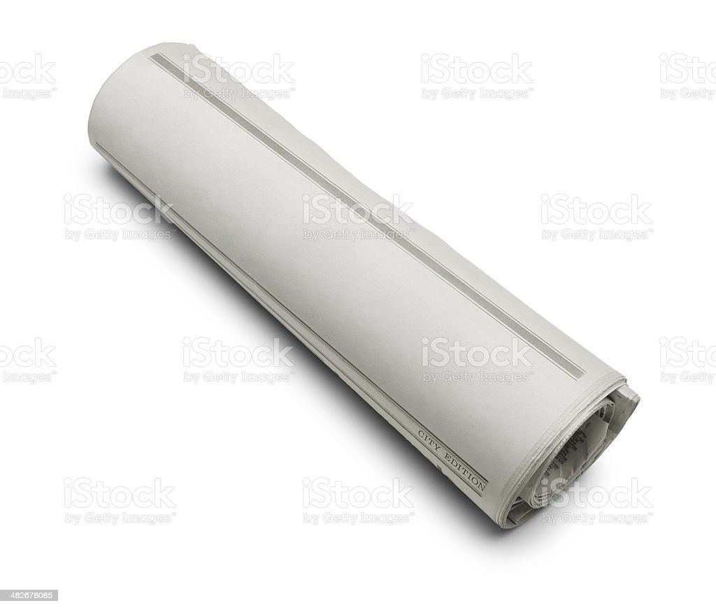 Rolled Blank Newspaper stock photo