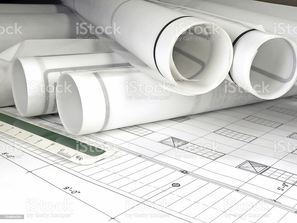 Rolled Blueprints royalty-free stock photo