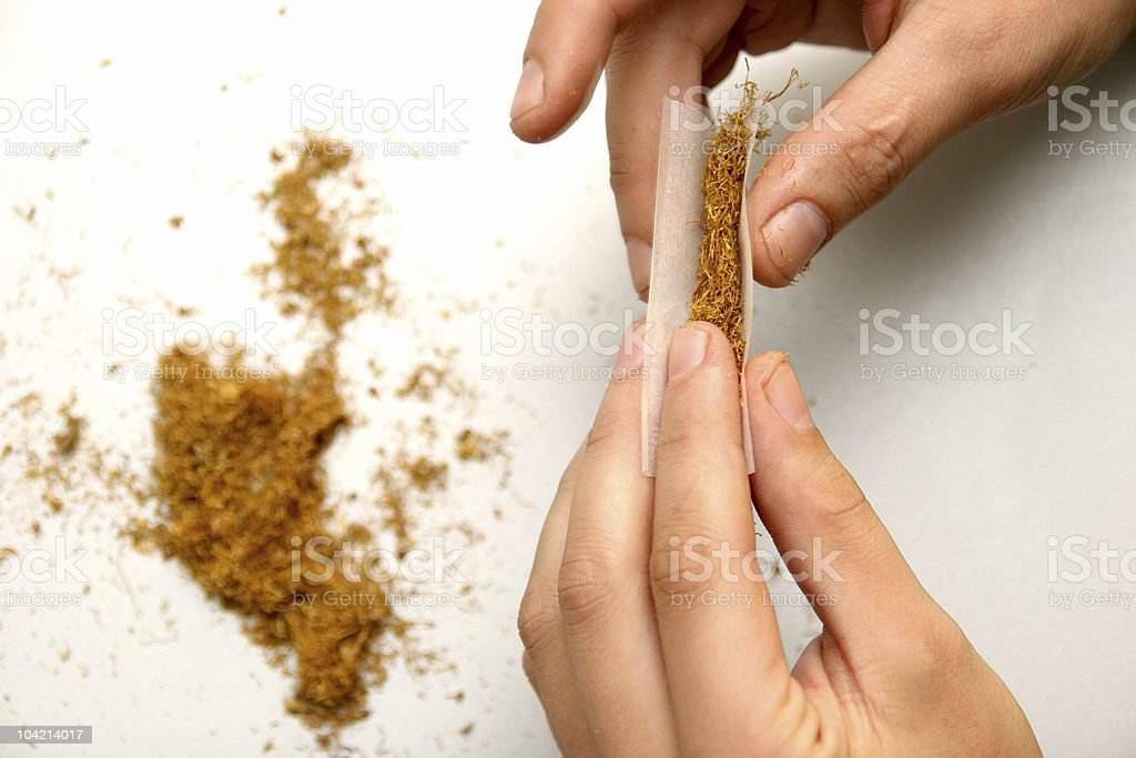 rolled cigarette stock photo