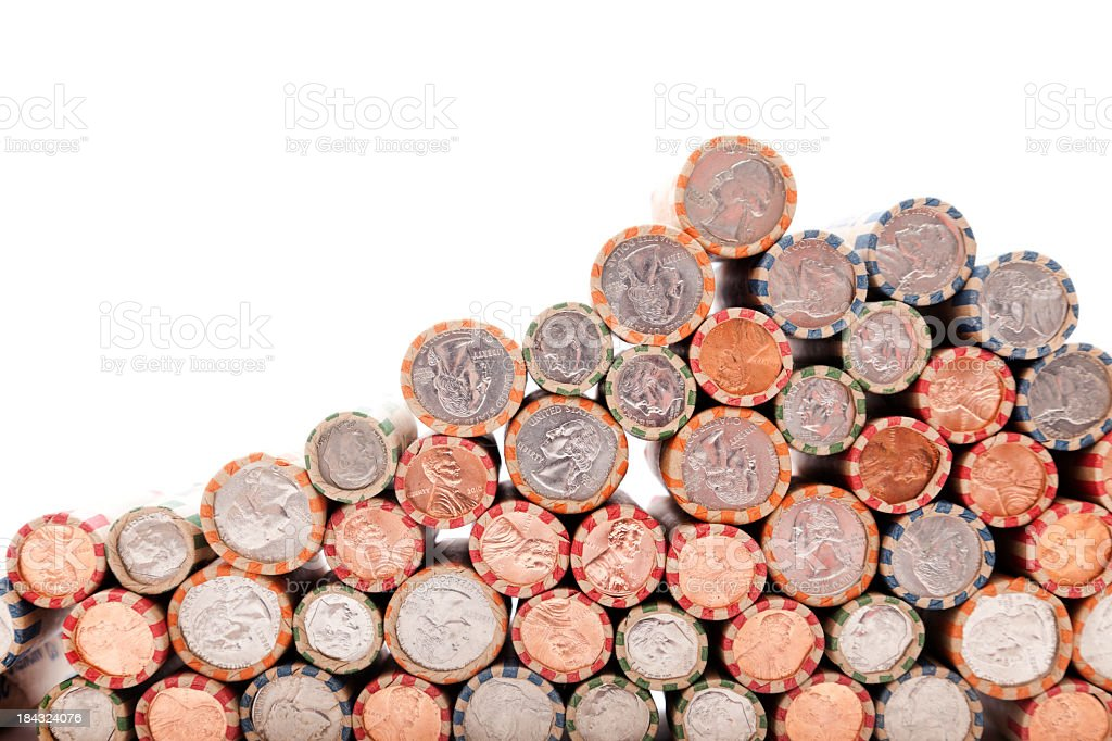 Rolled Coin Border stock photo