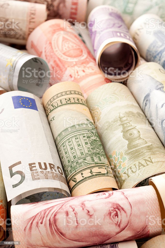 Rolled currency stock photo