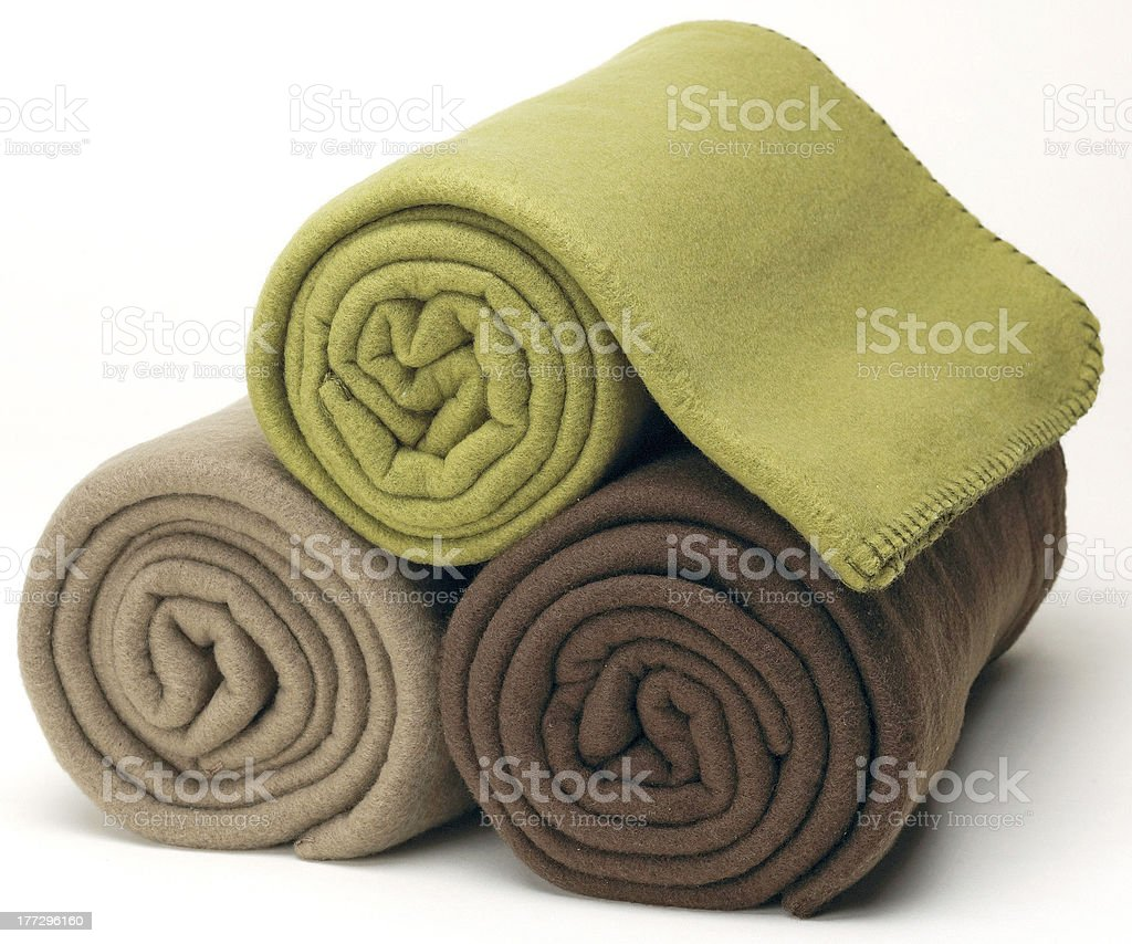 rolled fleece blankets royalty-free stock photo