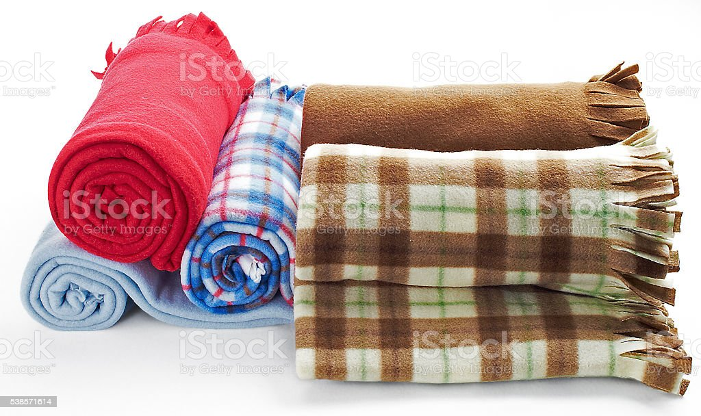 rolled fleece blankets stock photo