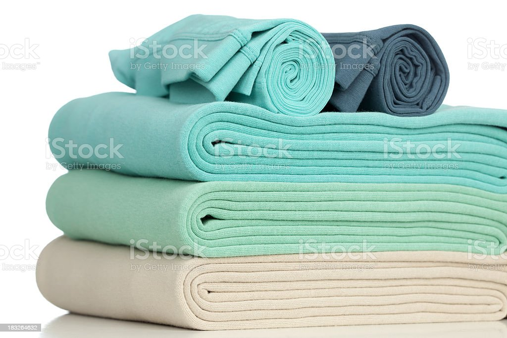 Rolled, folded clothes. royalty-free stock photo