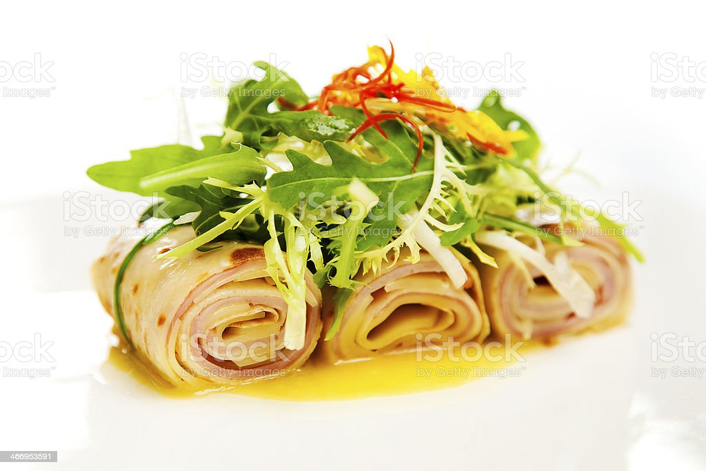 rolled ham and cheese crepe royalty-free stock photo
