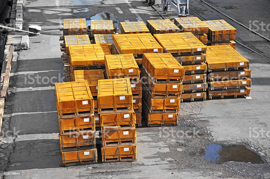 Rolled metal in port stock photo