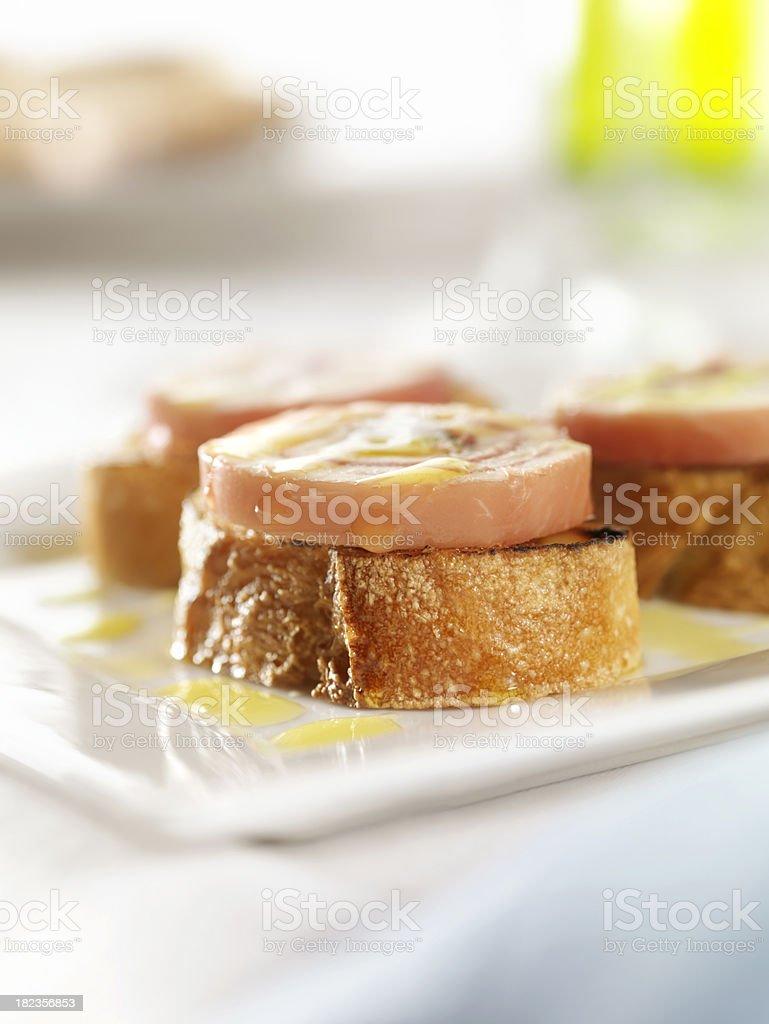 Rolled Mozzarella Cheese and Prosciutto Ham royalty-free stock photo