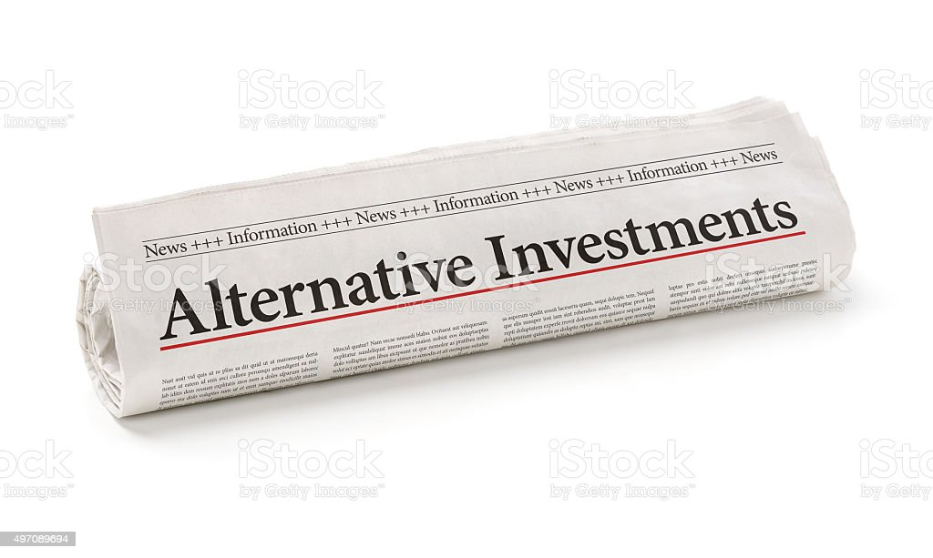 Rolled newspaper with the headline Alternative Investments stock photo