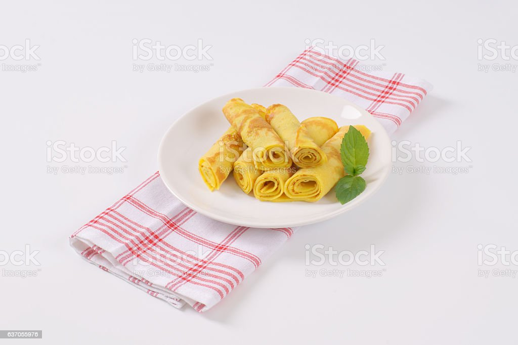 Rolled pancakes stock photo