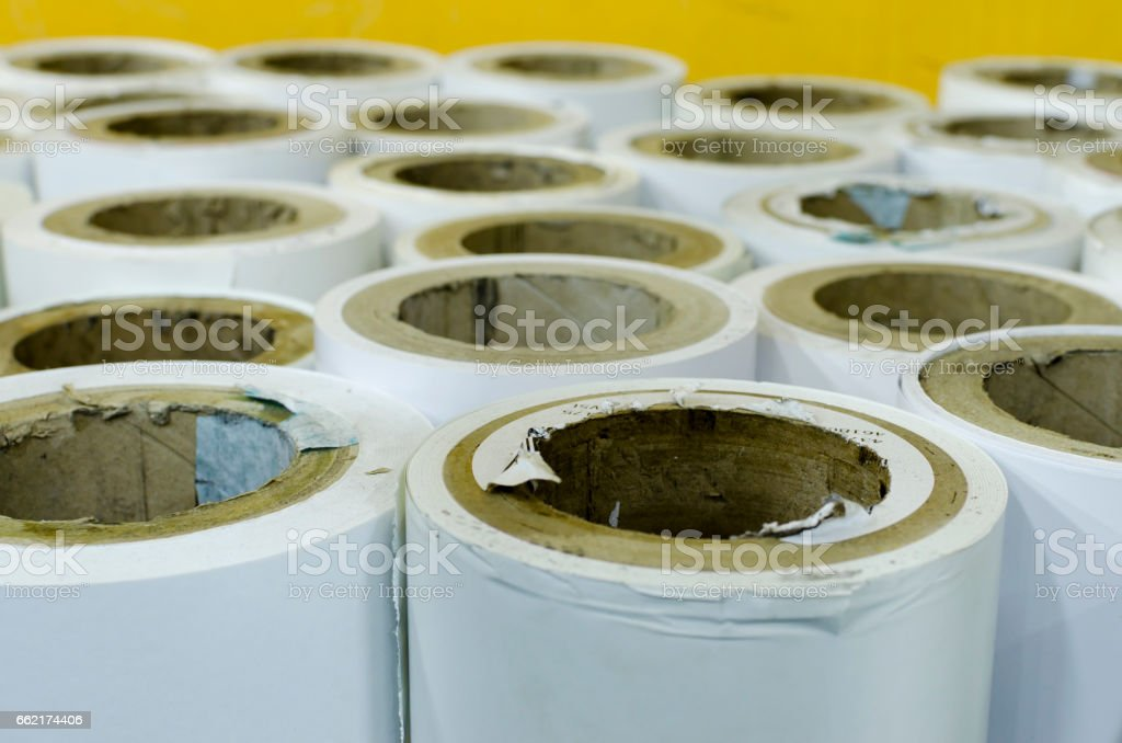 Rolled paper in printing hous stock photo