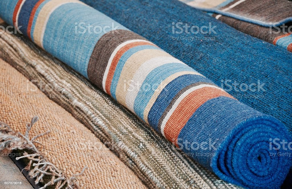Rolled Rugs stock photo