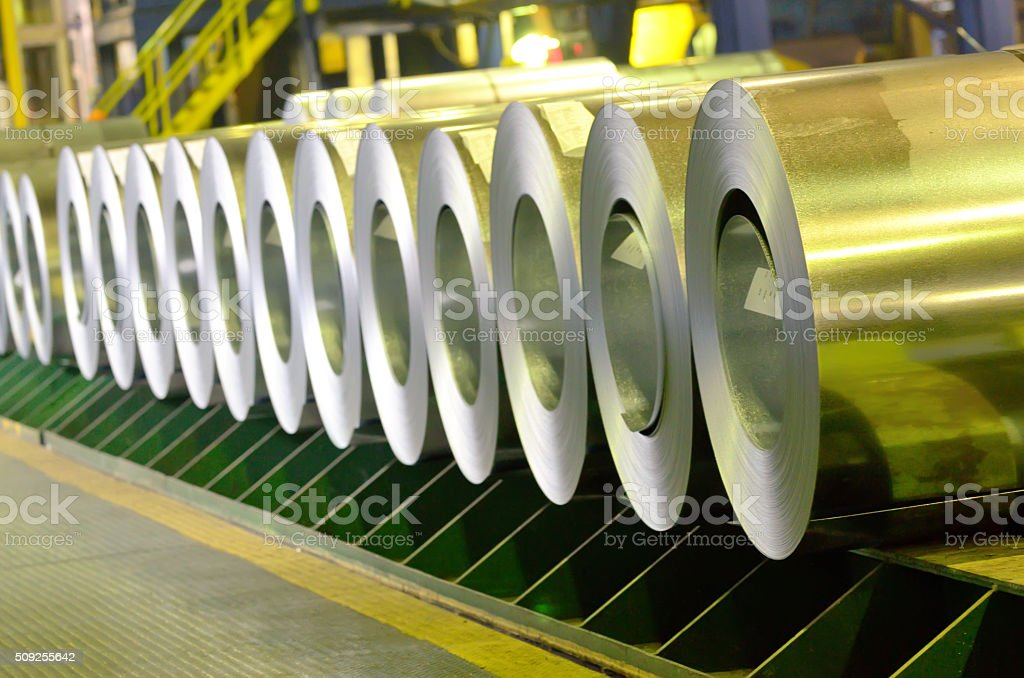 rolled steel coils stock photo