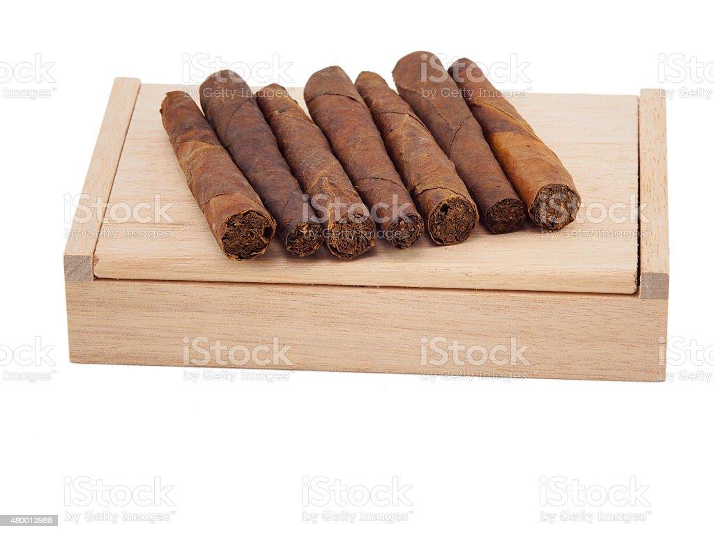 Rolled Toscano half cigars stock photo