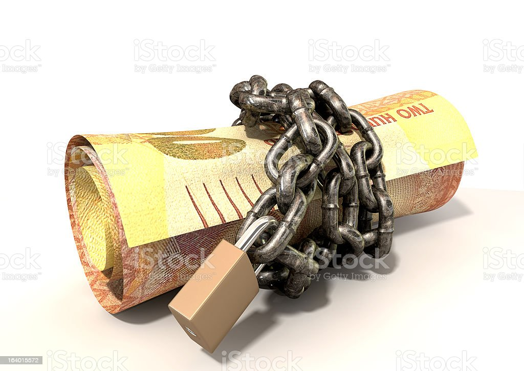 Rolled Up And Shackled Rands Laying stock photo