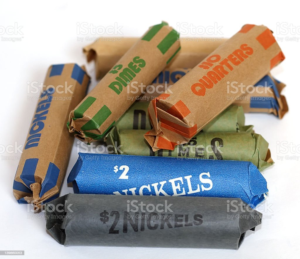 Rolled Up Coins stock photo