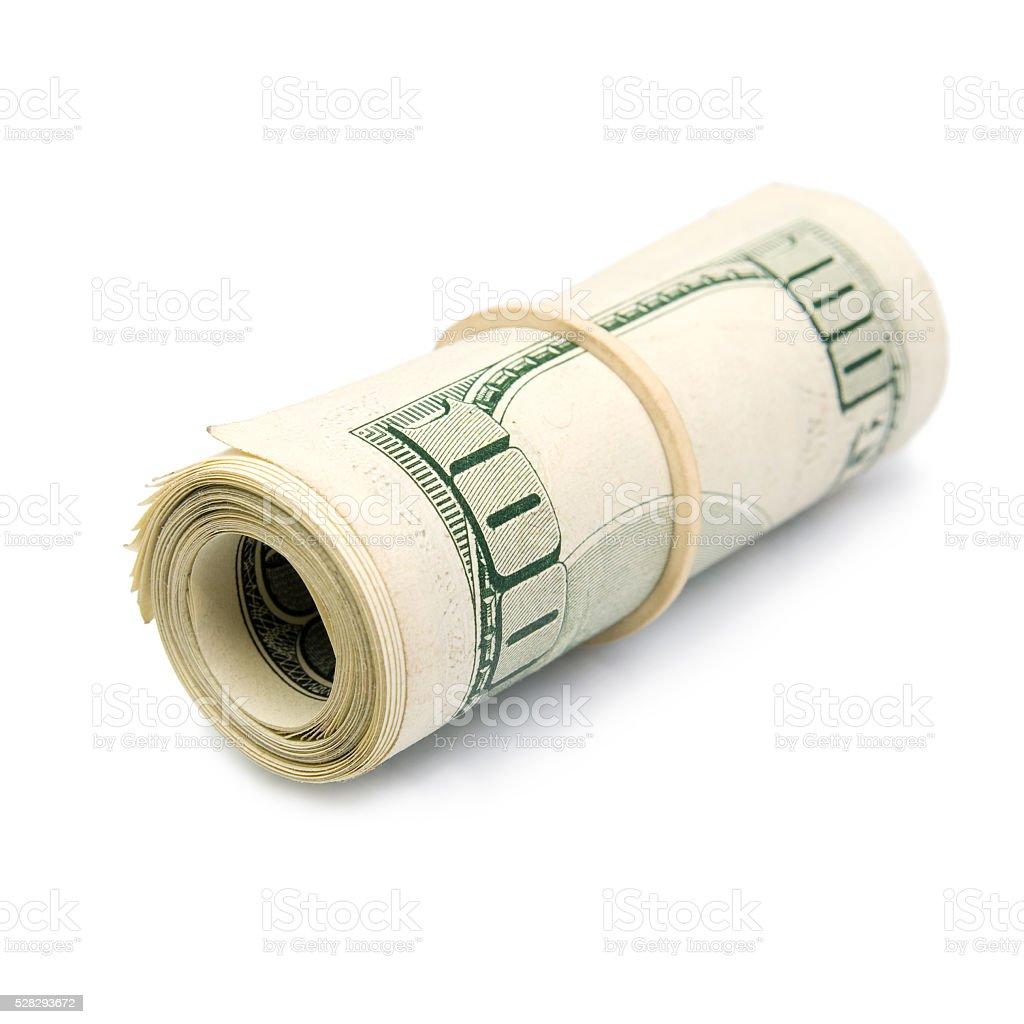 Rolled up dollar bills stock photo