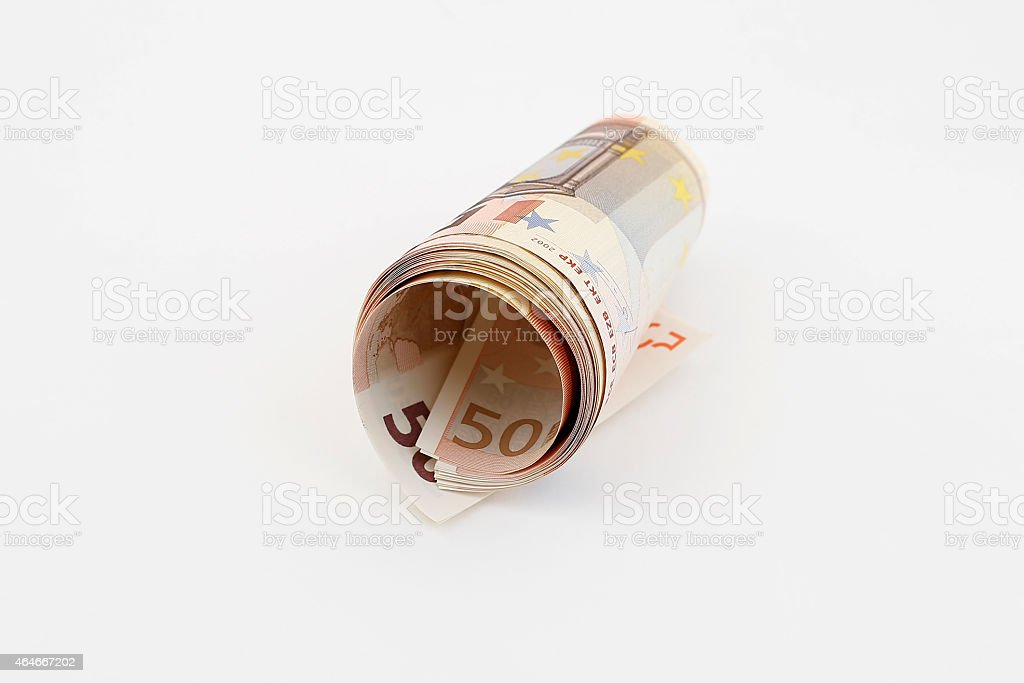 Rolled Up Euro Banknote stock photo