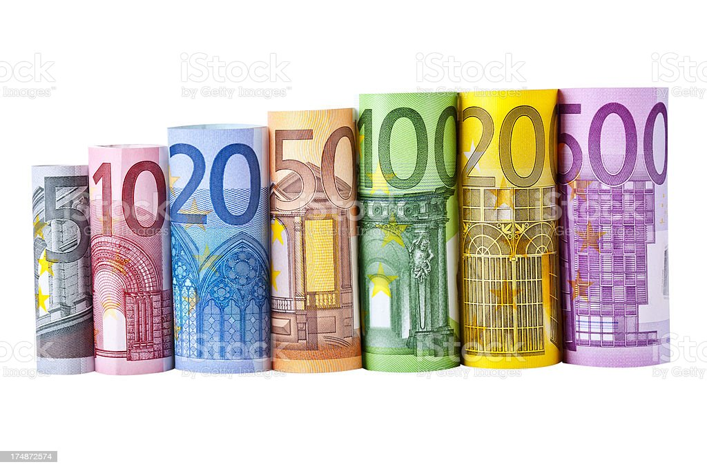 Rolled up euro banknotes royalty-free stock photo