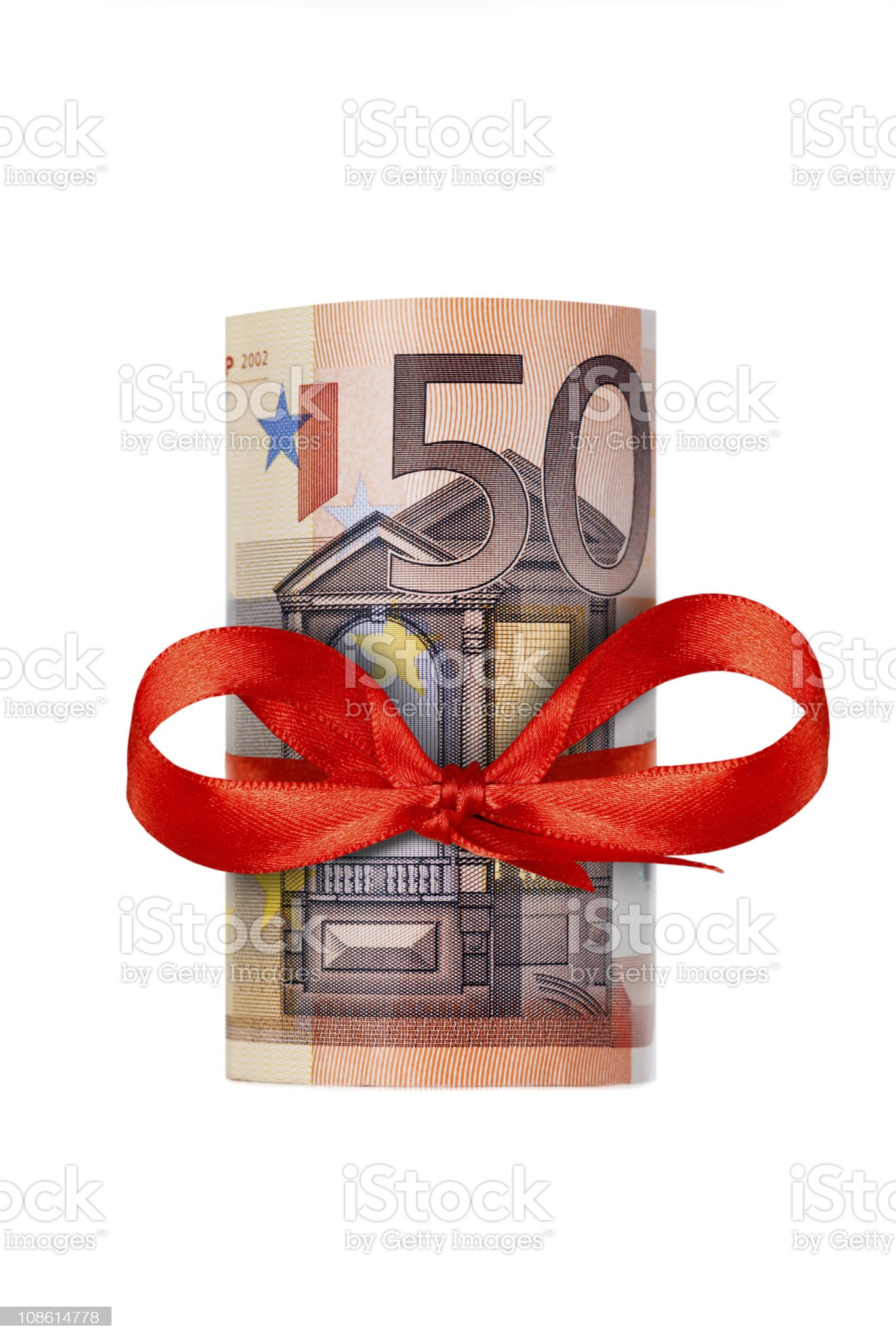 Rolled up fifty euro royalty-free stock photo