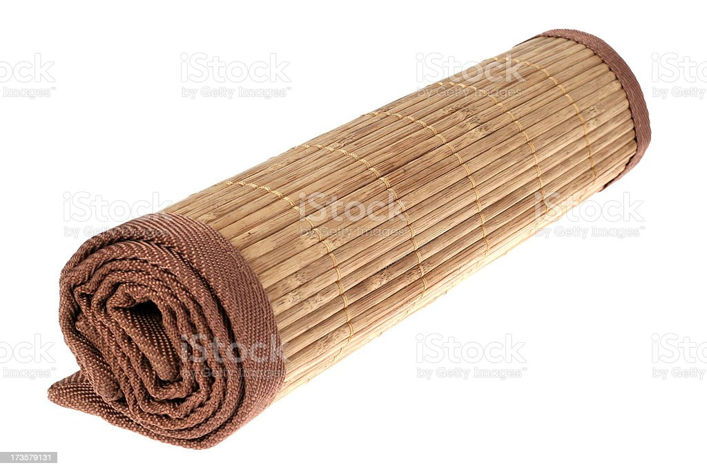 Rolled up mat from the bamboo royalty-free stock photo