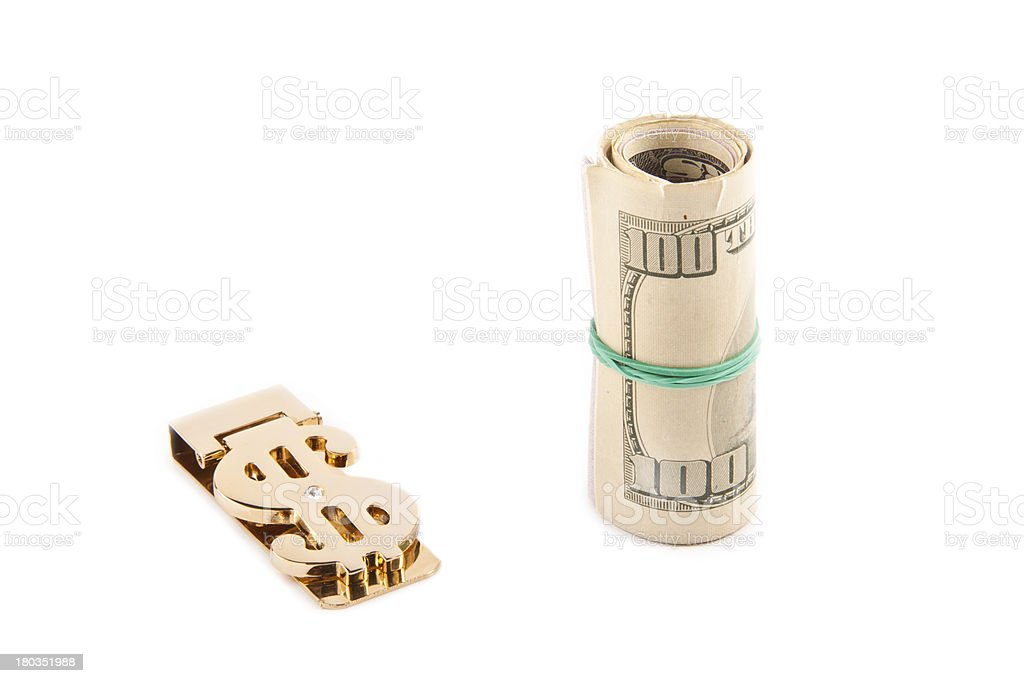 Rolled up paper dollar royalty-free stock photo