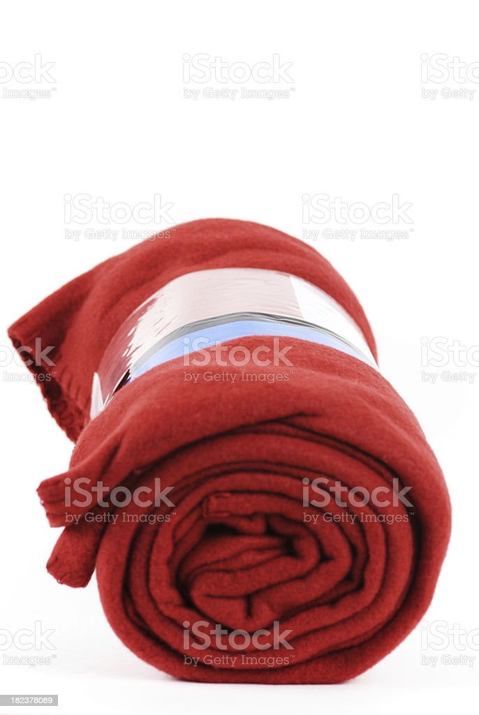 Rolled up red blanket royalty-free stock photo