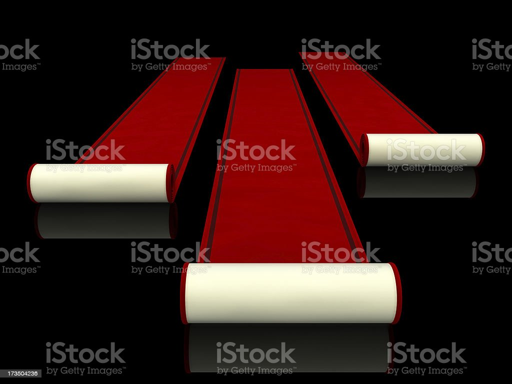 Rolled Up Red carpet stock photo