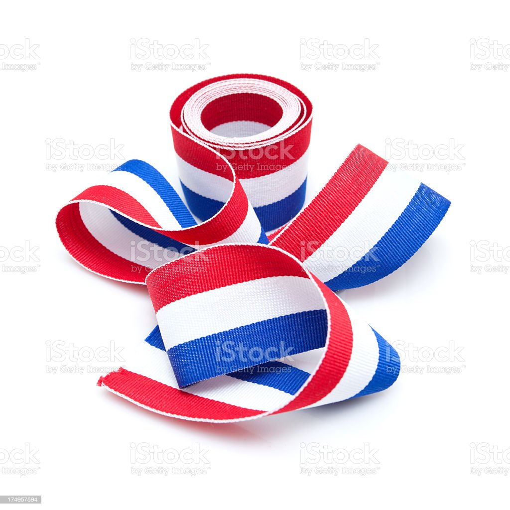 Rolled up the medal ribbon (French) isolated on white background royalty-free stock photo