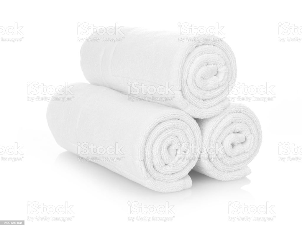 Rolled up white towels stock photo