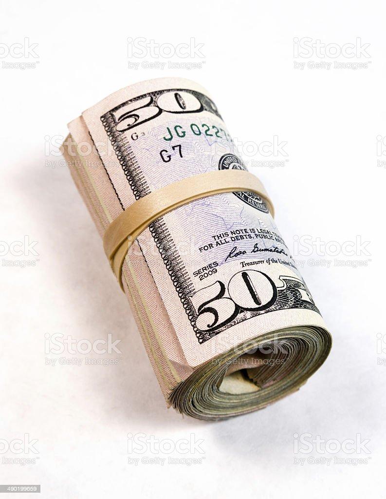 Rolled Wad Fifty Dollar Bills American Money Cash Tender stock photo