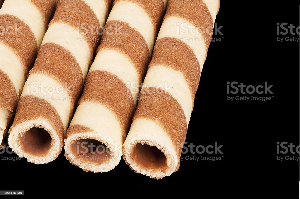 Rolled wafers stock photo