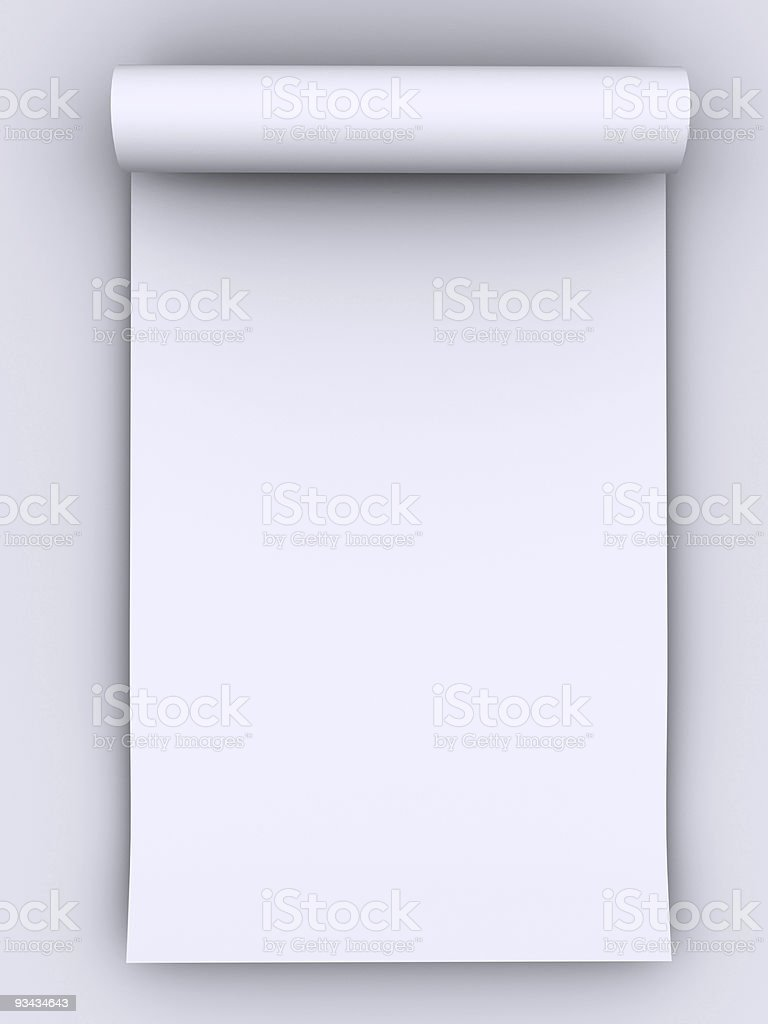 Rolled white paper on a white background royalty-free stock photo