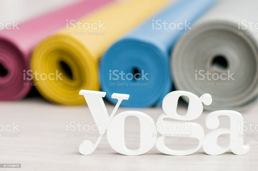 Rolled Yoga Mats stock photo