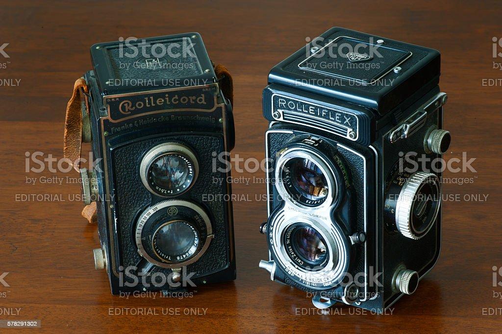 Rolleicord and Rolleiflex vintage bioptical photo camera stock photo