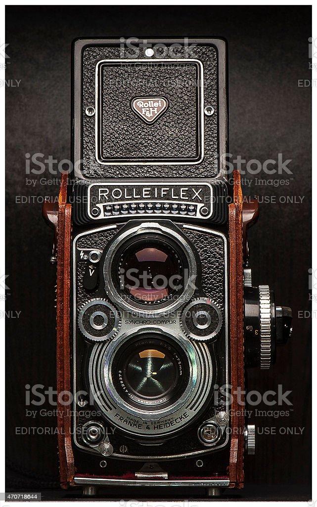 Rolleiflex Twin Lens Reflex Vintage Film Camera stock photo