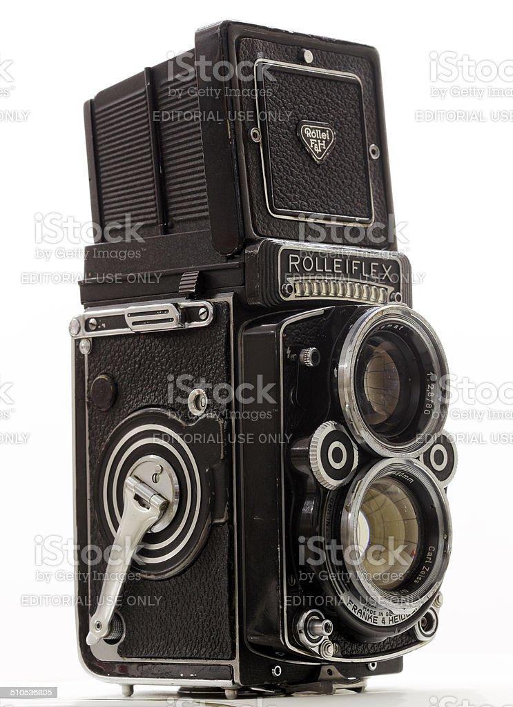 Rolleiflex twin-lens Vintage camera stock photo