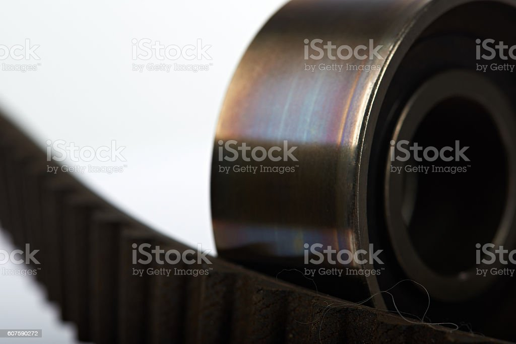 roller and timing belt stock photo