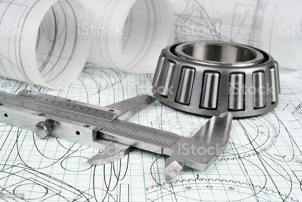 roller bearing, vernier callipers  and drawings stock photo
