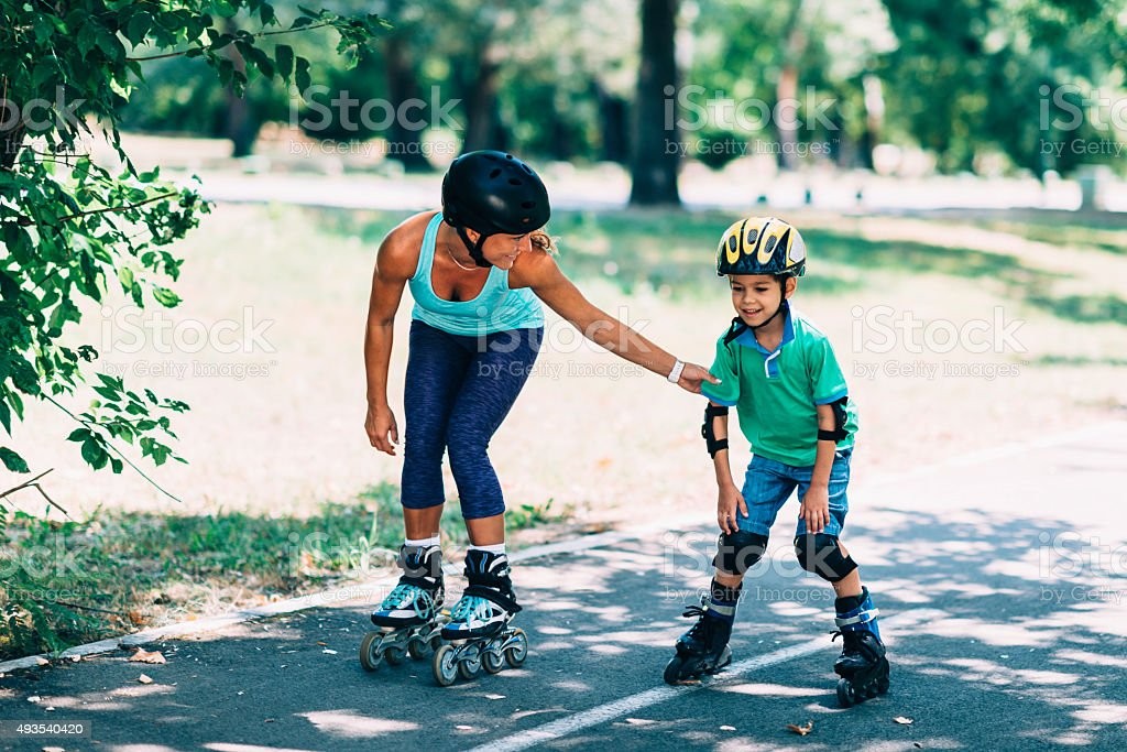 Roller blading lesson stock photo