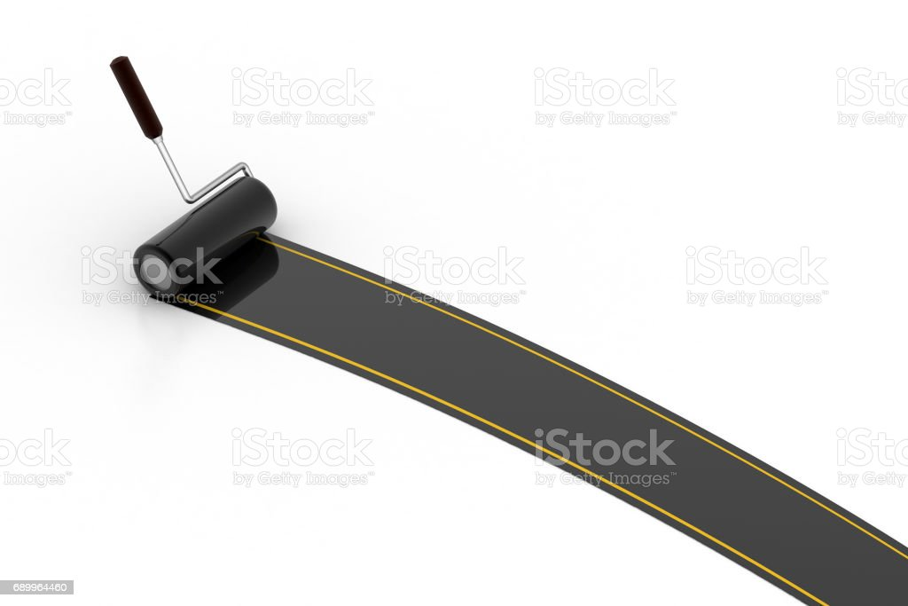 Roller brush paint the road stock photo
