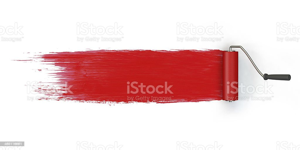 Roller brush red paint stock photo